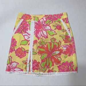 Lilly Pulitzer Vintage Pink & Yellow Floral Skort